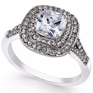 ✨Double Halo Silver Crystal Ring Cubic Zirconia
